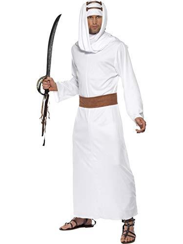 Fancy Ole - Herren Männer Männer Lawrence von Arabien Kostüm im arabischen Kämpfer Scheich Stil mit Gewand, Kopfbedeckung und Gürtel, perfekt für Karneval, Fasching und Fastnacht, M, Mehrfarbig