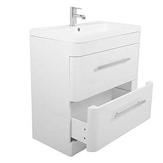 Aquariss Luxury 800mm Floor Standing Bathroom Vanity Unit Furniture, Basin & FREE Mirror - White