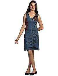 Damen bunte Sommerärmelloses Kleid Baum Stickerei