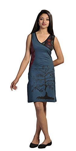 Femmes Colorful manches Summer Dress Arbre Broderie Multicolore