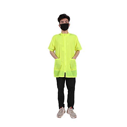 Schürze Kostüm Happy - Ocamo wasserdichte Schürzen, antistatisch, Nicht klebend, für Haustiere, Fellpflege, Badeschürze mit Tasche, für Hunde und Katzen, Haarpflege, M Fluorescent Yellow