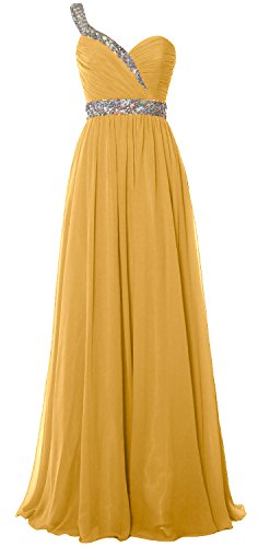 MACloth Women One Shoulder Crystals Long Prom Dress Chiffon Evening Formal Gown Gold