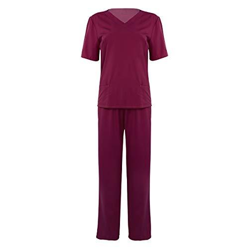 inhzoy Unisex Erwachsenen Arzt Scrubs Set Medizinische Uniform Halloween Kostüm Stillen Top mit Hose Gr. Large, Wine_red