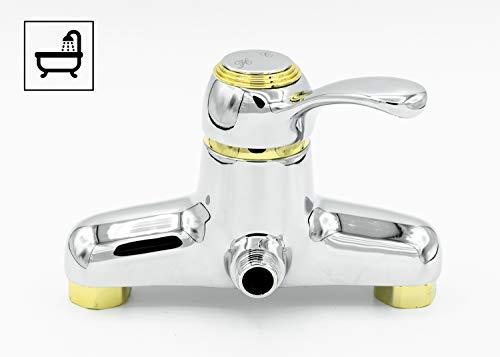 Mixomat Botero Chrom-Gold Badewannenarmatur Einhandmischer für Brauser, Armatur, Bad