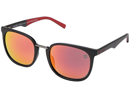 Sunglasses Timberland TB 9175 02D Matte Black Front, Red Perforated Rubber Templ