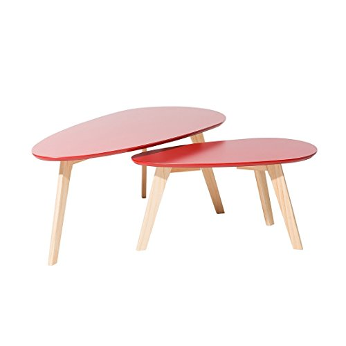 Beliani Tables Basses - Lot de 2 Tables d`appoint - Rouge - Fly II