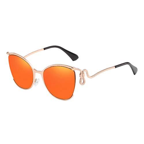 MWPO Sonnenbrille im Freien Fahren Dekorative Anti-Glare-Metall Damen Anti-UV-Visier Brille (Farbe: Gold Rahmen rote Linse)