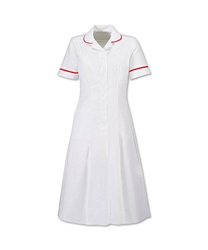 Alexandra stc-hp370wre-84Reißverschluss vorne Kleid mit Kontrast Kragen, Uni, unhemmed, 67% Polyester/33% Baumwolle, rotem Rand, Brust: 8, Größe: 84cm, weiß (Kontrast-rand)