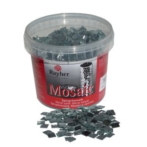 Rayher Mirror Mosaic Tiles Bucket for Arts and Crafts, 1x1 cm, 1 kg, 1900-Piece
