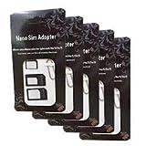 Eleidgs 5 pezzi 4 in 1 carta di Sim Adapter Set (Nano, Micro, Standard, espulsione Pin) per smartphone e tablet