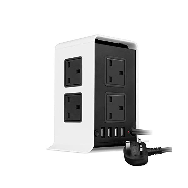 3M/9FT Tower Extension Lead [4 USB Ports 8 Way Outlets] with Surge Protection, KOI Vertical Power Strip Tower Extension Cord with Fuse and Overload Protection (Square) 31z mXB9cBL