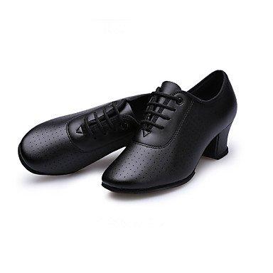 Scarpe da ballo-Non personalizzabile-Da donna-Balli latino-americani-Quadrato-Di pelle-Nero / Rosso Red