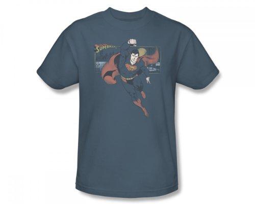 Superman - Dies ist ein Job für Erwachsene Kurzarm T-Shirt in Slate von DC Comics, XX-Large, Slate