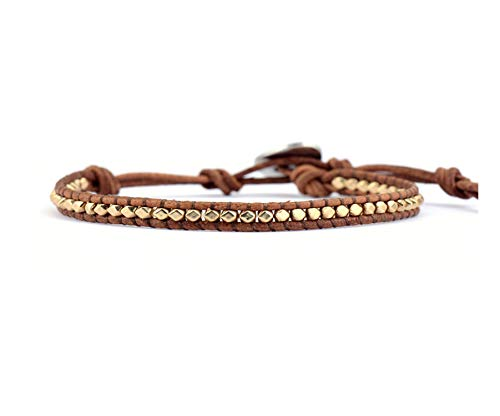 Daawqee Pulseras Fashion Gold Color Beads Leather Wrap...