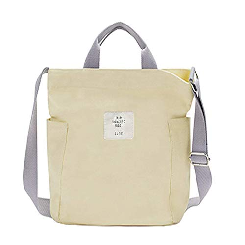 Gindoly Casual Handtasche Damen Canvas Chic Schultertasche Damen Henkeltasche Schulrucksack Große umhängetasche Tasche Beige EINWEG