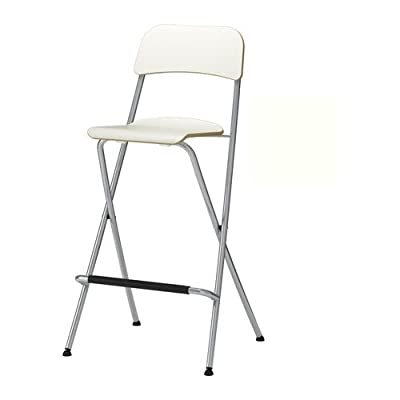IKEA FRANKLIN - Bar stool with backrest, foldable, white, silver-colour - inexpensive UK light shop.