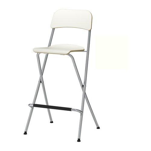 Ikea franklin-sgabello da bar con schienale pieghevole bianco argentato