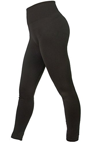 AMORETU Damen Winter Undurchsichtige Nahtlose Lange Dicke Jersey Leggings Hose Schwarz (Kleid-leggings Spielen)