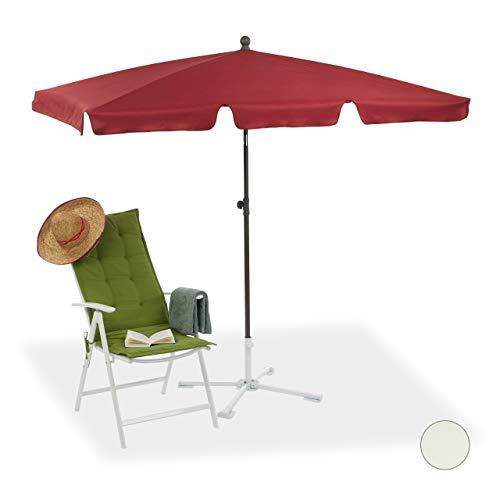 Relaxdays Sonnenschirm rechteckig, 200 x 120 cm Strandschirm, höhenverstellbarer Gartenschirm m. Kippfunktion, Bordeaux