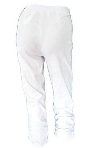 Susan 07 Robell Seitlich geraffte Damen Caprihose Hoher Bund Bengalin Stretch Weiß