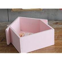 Casita colgante de madera Webest. Multifunción para estantes, marcos o plantas decorativas, Rosa
