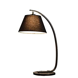 ZAOFAN Table lamp restaurant hotel decoration room study eye bedroom bed warm fishing fabric lampshade metal base plating E27 lamps head (size: 20 * 59cm),A