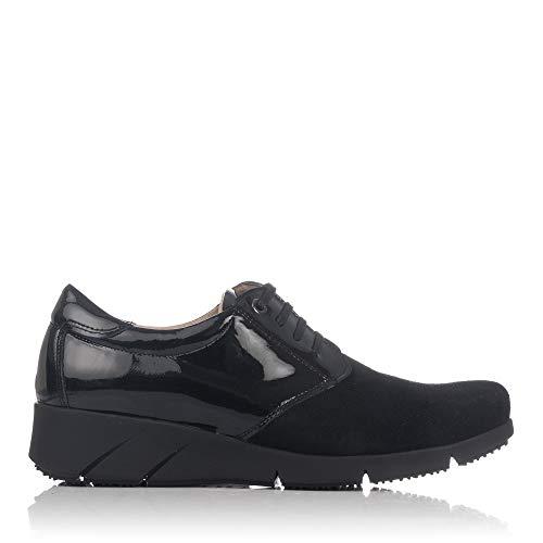 LINCE 88759 Zapato Cordones Piel Combi Mujer Negro