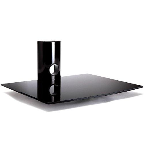 Duronic DS101BB Meuble mural en verre couleur noire pour écrans de TV LCD/Plasma/LED, lecteur DVD/Blu-ray, amplificateur, box TV