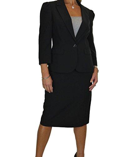 ICE Damen Anzug mit Rock - für Büro oder Geschäft - 3/4 Hülse Schwarz (42)