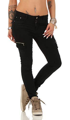 Fashion4Young 11300 Damen Jeans Röhrenjeans Hose Damenjeans Boyfriend Cargohose (S=36, schwarz)
