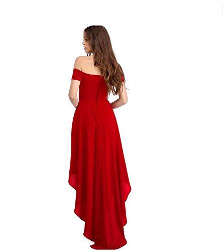 PU&PU Femmes Occasionnels / Sorties / Party Off épaule Asymétrique Swing Dress, manches courtes red