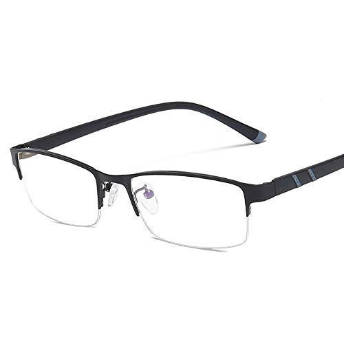 Duhongmei123 Mode Brillen Men Business Anti Blue Light Square Flache Brille Metal Half Frame Plain Glasses Occhiali (Color : Schwarz, Size : Kostenlos)