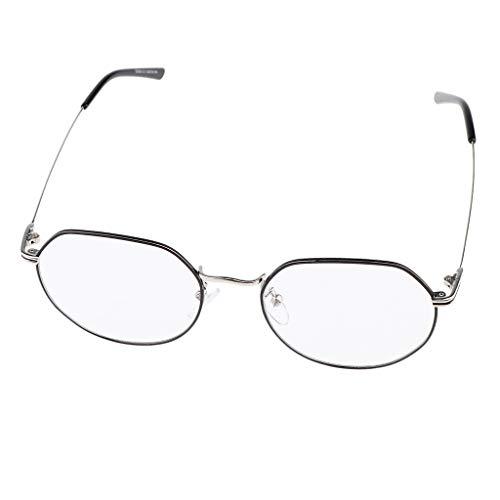 Fenteer Herren Damen Klare Linse Gläser Metallrahmen Kostüm Brillen Nerdbrille Dekobrille - Schwarzes Silber