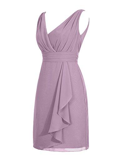 Dresstells, robe de demoiselle d'honneur en mousseline sans manches, robe courte d'été col en V Blanc