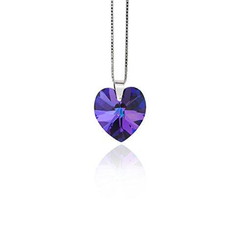 Kristallwerk Kette 925 Silber mit SWAROVSKI ELEMENTS Herz Farbe Heliotrope