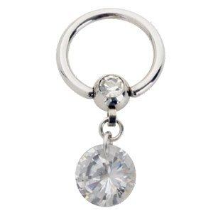 eeddoo Piercing-Ring mit Anhänger Silber Edelstahl Kristallklar