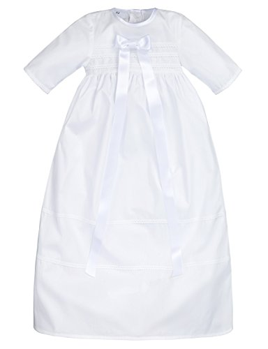 """Bateo Design Taufkleid """"Simon"""" mit weißer Schleife / Größe 68 / festliche Taufbekleidung für Mädchen und Jungen geeignet / Aus 100 % Baumwolle gefertigt / Unisex"""