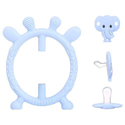 Baby Beißring Spielzeug Baby Rassel Weiche Natürliche BPA-freie Beißring Ring mit Zahn Schnuller & Rassel Design Baby Kauen Spielzeug für 3-12 Monate Kleinkind Neugeborenen