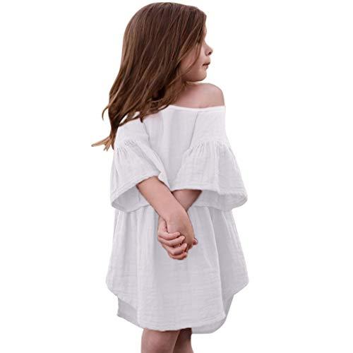 Livoral 2019 Kleidung Set Kleinkind Baby Mädchen Off-The-Schulter-Trompete Ärmel gekräuselt Volltonfarbe Print Kleid Kleidung(Weiß,100) ...