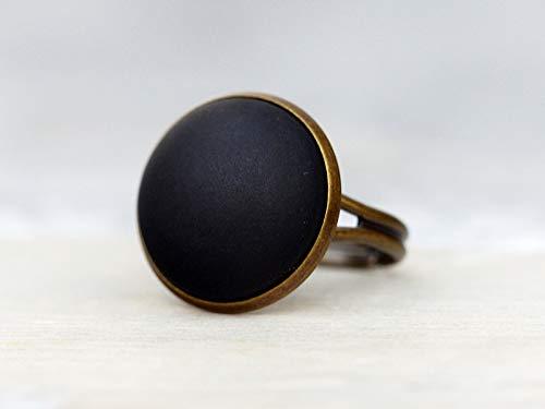 Basic Ring mit matt schwarzem Stein