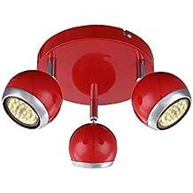 LED Deckenstrahler 3 Flammig Decken Spot Deckenlampe Bewegliche Spots Strahler Flur Lampe Metall Rot Deckenleuchte