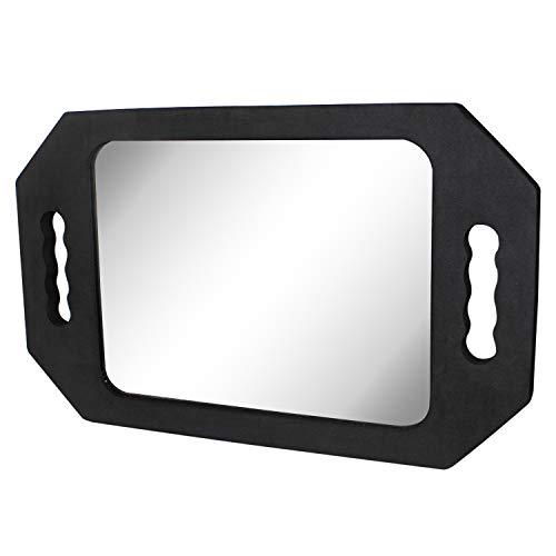 Espejo de peluquería - (39.5x24.5 cm) Negro Espejo de Espuma con Doble Mango para Profesional del salón Barberos Peluqueros - Espejo de Barbero Fácil de Llevar y Sujetar