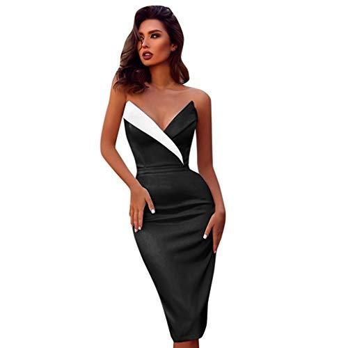 c10079d8cedb LRWEY Femmes Robe Mode élégante Couleur de Couture sans Manches v-Cou  Longue Bouton La Taille Casual Nuit Sexy Slip Elégant Cocktail Mariage Jupe  ...