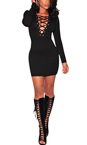 SunIfSnow -  Abito  - fasciante - Basic - Maniche lunghe  - Donna Black X-Large