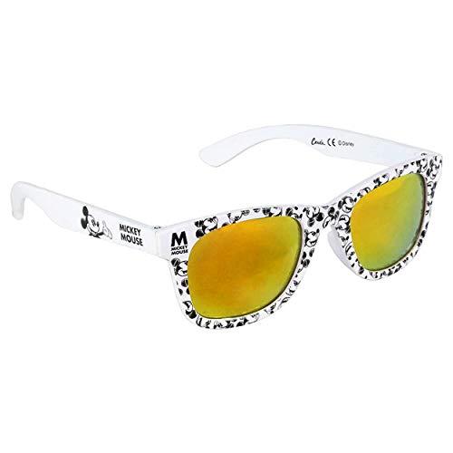 Mickey Mouse Jungensonnenbrille Premium Micky Maus Disney | 3+ Jahre | Glas Gelbe Farbe und 100% UV400-Schutz | Leichtes Material | Schwarzweiss-Gläser