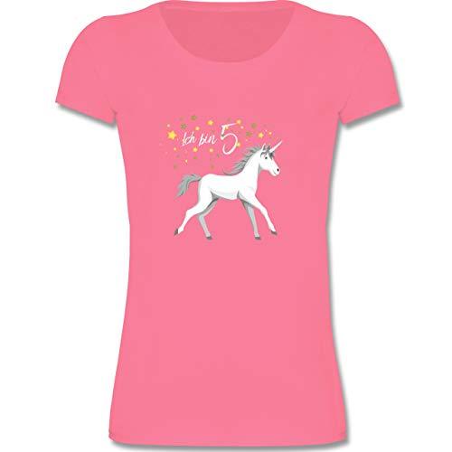 Geburtstag Kind - 5. Geburtstag Einhorn - 98-104 (3-4 Jahre) - Rosa - F288K - Mädchen T-Shirt
