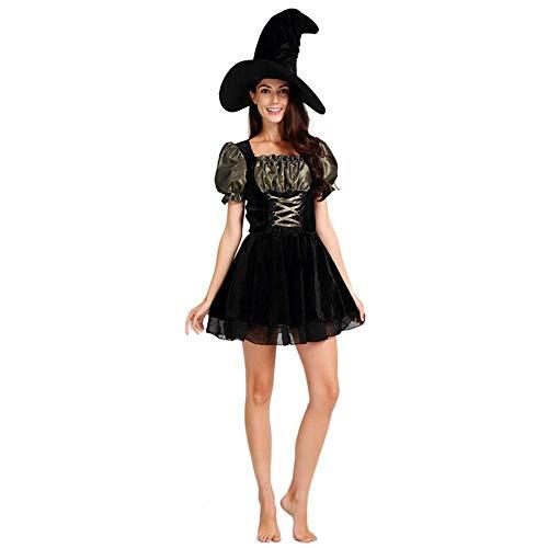 Fashion-Cos1 Erwachsene Königin des Vampirkostüms Schwarze Königin Kostümparty Damen Halloween Hexe Leistungsuniform