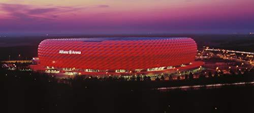 München Stadion Panorama außen ROT - Poster 120 x 50 cm - hochwertiger FineArtPrint -