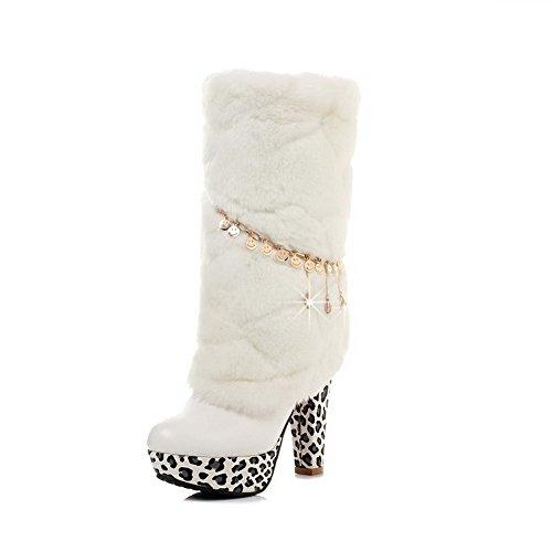 VogueZone009 Femme Haut Bas Mosaïque Tire Rond à Talon Haut Bottes Blanc