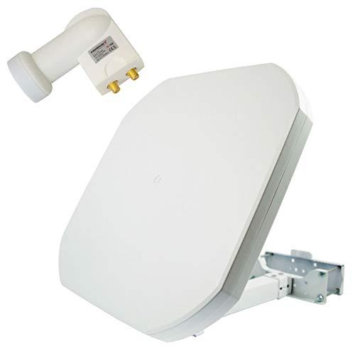 PremiumX FLAT43 Sat Flachantenne mit Digital Twin LNB - Satellitenanlage für 2 Teilnehmer - 4K UHD FullHD HD - Dach-antenne-tv
